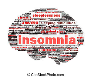 Insomnia symbol concept isolated on white background. Sleep...