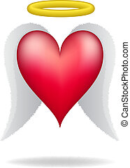 Heart with wings and halo on white background