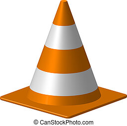 Traffic cone - Orange traffic cone on white background