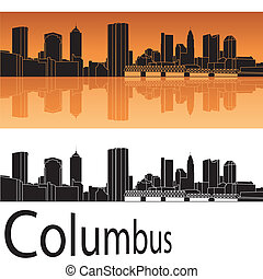 Columbus skyline in orange background in editable vector...
