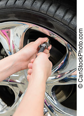 Inflating Tires - Inflate tires and check pressure before...