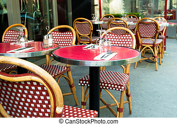 traditional Parisian coffee - Street view of a coffee...