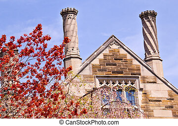 Yale University Sterling Law Building Red Leaves - Yale...