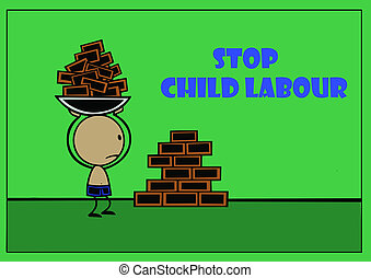 stop child labour - a child do hard work