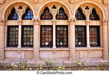 Yale University Ornate Windows Reflection