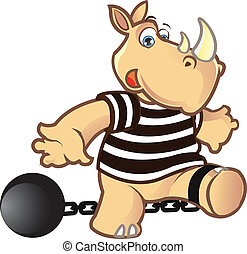 Prisoner Rhino - Funny Prisoner Rhino Chained to a Ball