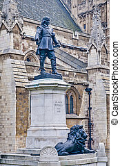 Oliver Cromwell statue at London, England - Oliver Cromwell...