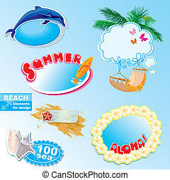 summer beach frames and elements set