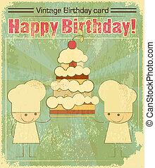 Vintage birthday card Design with chefs and Big Cake