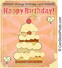 Vintage birthday card with big berry cake
