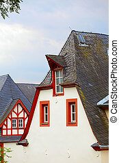 Historic roofs - Old historic roof in small city Saarburg,...