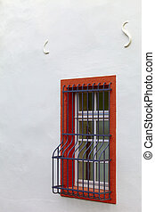 Single window - A window with grating, small city Saarburg,...
