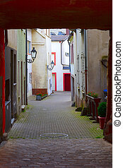 Old historic backstreet in small city Saarburg,...