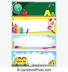 Education banners - A vector illustration of a set of...