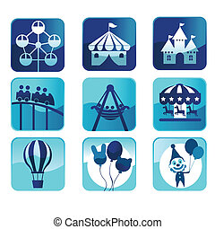 Theme park icons - A vector illustration of theme park icons
