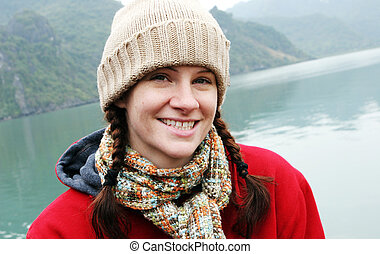 Winter woman - Natural looking woman in winter clothing with...