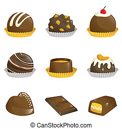 Chocolates icons - A vector illustration of different kinds...