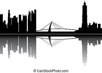 taipei skyline with the 101 tower