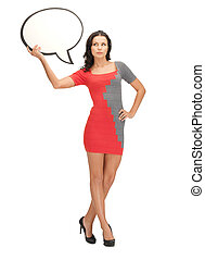 woman with blank text bubble - picture of woman with blank...