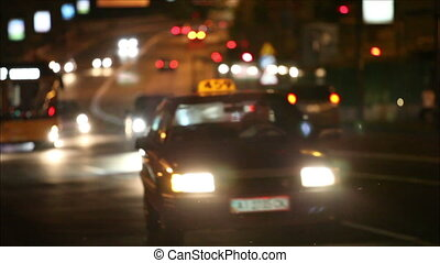 Night traffic in the city, defocus