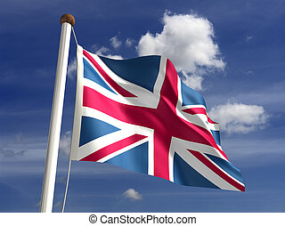 United Kingdom flag with clipping path - 3D United Kingdom...