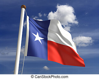 Texas flag with clipping path - 3D Texas flag with clipping...
