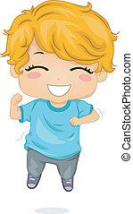 Jumping Boy - Illustration Featuring a Boy Jumping with Glee