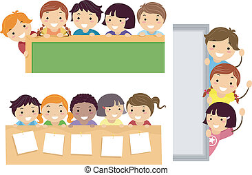 Education Border - Illustration Featuring School Children...