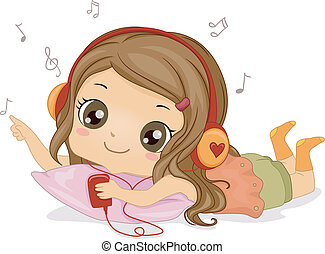 Music Girl - Illustration Featuring a Girl Listening to...