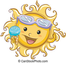 Sun Holding an Ice Cream