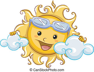 Sun Hiding Behind Clouds - Illustration Featuring the Sun...