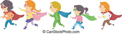 Superhero Kids - Illustration Featuring Kids Dressed as...