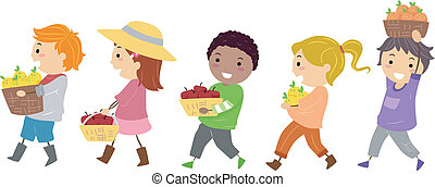 Fruits Kids - Illustration Featuring Kids Carrying Baskets...