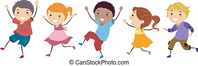 Skipping Kids - Illustration Featuring Kids Skipping Happily