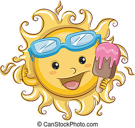 Sun Holding a Popsicle - Illustration Featuring the Sun...