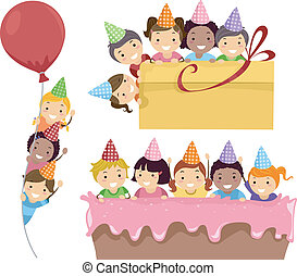 Birthday Party Border - Illustration Featuring Kids Having a...