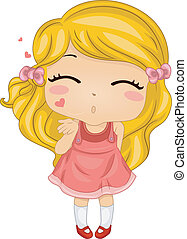 Flying Kiss - Illustration Featuring a Girl Blowing a Flying...