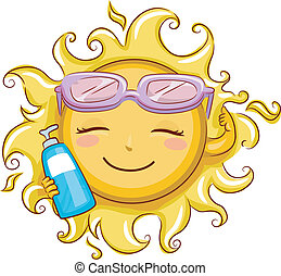 Sun Holding a Sunblock Lotion - Illustration Featuring the...