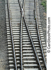 Track Cross-over - Cross-over of railway tracks laid on...