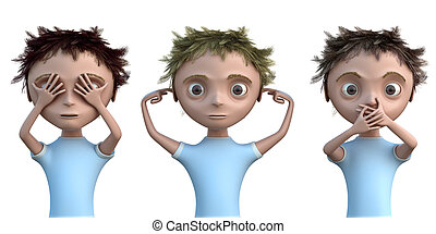 Hear, see and speak no evil - Cg kid see no evil, hear no...
