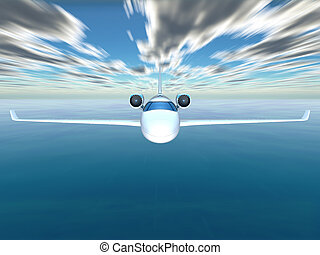 Plane - Airplane flying on the sky background and water