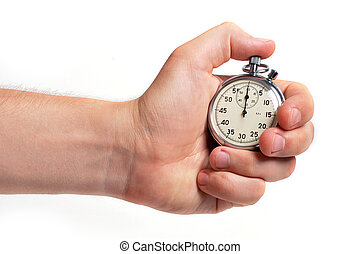 Man's hand holding stopwatch, isolated on the white...