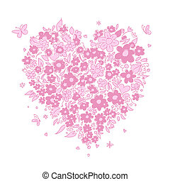 Sketch of floral heart shape for your design