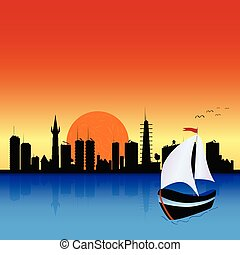 city with boat illustration art vector and river