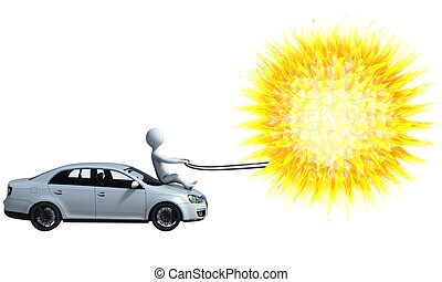 Solar-powered car - Character is driving a solar-powered car...