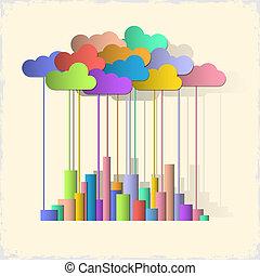 Rainbow city. Concept vector background