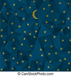 Night sky made from crumpled paper. Vector eps10