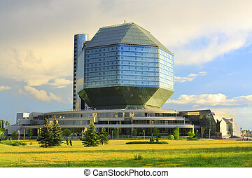 Building of the National Library in Minsk - Modern building...