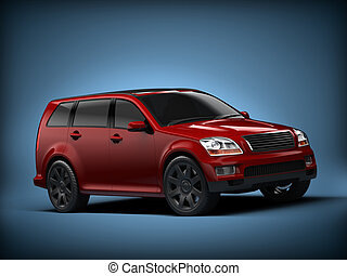 SUV - Studio shot of 3d SUV concept