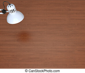 White lamp and wooden work table 3d rendering
